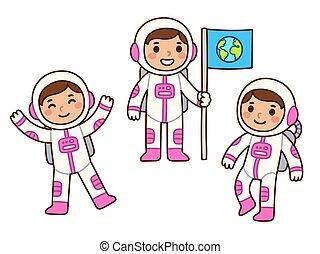 sprytny, dziewczyna, astronauta, rysunek