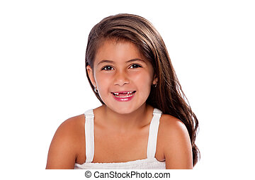 sprytny, dziewczyna, brakujący, uśmiechanie się, zęby