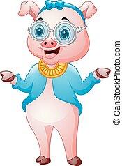 sprytny, dziewczyna, hipster, świnka