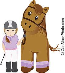 sprytny, dziewczyna, koń