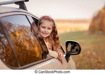 sprytny, dziewczyna, mały, wóz