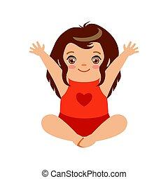 sprytny, dziewczyna niemowlęcia, posiedzenie, z, herb, raised., barwny, rysunek, litera, wektor, ilustracja