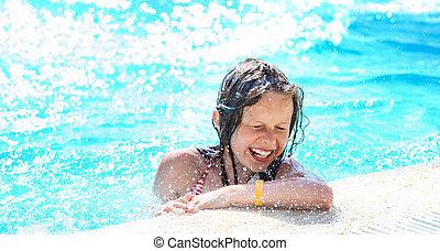 sprytny, dziewczyna, pool., odprężając, pływacki