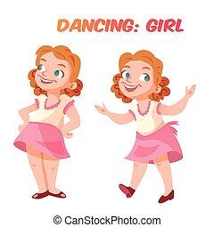 sprytny, dziewczyna, wektor, ilustracja, taniec