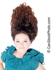 sprytny, dziewczyna, z, długi, kędzierzawy włos