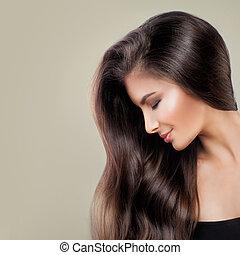 sprytny, dziewczyna, z, długi, zdrowy, włosy, i, makeup., piękny, fason modelują, kobieta, salon piękna, tło