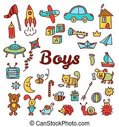 sprytny, elements., zbiór, ręka, chłopcy, projektować, zabawki, pociągnięty