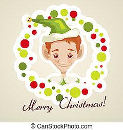 sprytny, elf, kartka na boże narodzenie