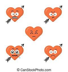 sprytny, emoticons, komplet, płaski, nowoczesny, odizolowany, smutny, serce, tło., strzała, twarze, uśmiecha się, biały, emoji, rysunek, faces., design.