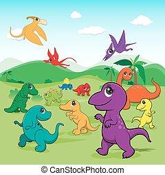sprytny, eps10, prosty, ilustracja, dinozaury, rząd, gradients, rysunek