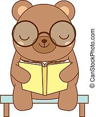 sprytny, fason, zwierzę, litera, book., berbecie, niedźwiedź...