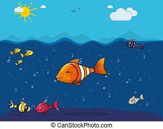 sprytny, fish, morze, barwny, podwodny