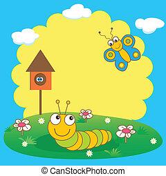 sprytny, gąsienica, butterfly., karta, wiosna