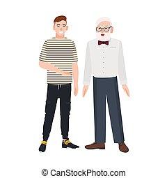 sprytny, granddad, starszy, śmiejąc., mówiąc, razem., uśmiechnięte stanie, zabawny, młody, inny, między, szczęśliwy, płaski, grandchild., człowiek, illustration., wnuk, dziadek, wektor, każdy, facet, przyjaźń