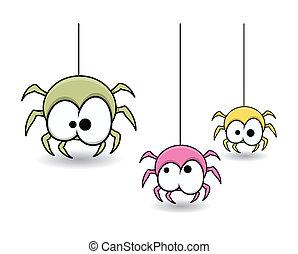 sprytny, halloween, pająki, barwny, sieć