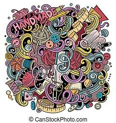 sprytny, handmade, ilustracja, ręka, doodles, pociągnięty,...
