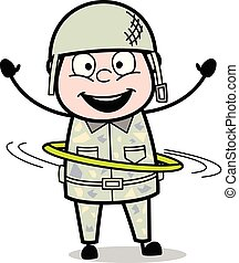 sprytny, hula, armia, obręcz, -, ilustracja, interpretacja, ...