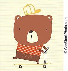 sprytny, hulajnoga, niedźwiedź, kopnąć