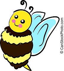 sprytny, illustration., kolor, pszczoła, wektor, albo