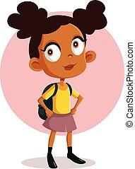 sprytny, ilustracja, dziewczyna, wektor, rysunek, szkoła