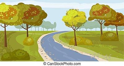 sprytny, ilustracja, odizolowany, drzewa, brzeg, rzeka, wektor, las, krajobraz