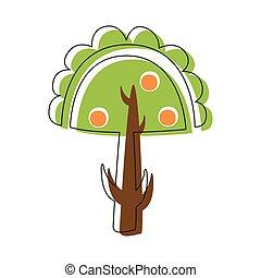 sprytny, jabłko, miasto, natura, konturowany, drzewo, ilustracja, element, opowiadanie, jabłka, wróżka, rysunek, krajobraz, ogród