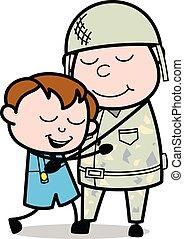 sprytny, jego, armia, po, -, wstecz, długi, syn, żołnierz, ...