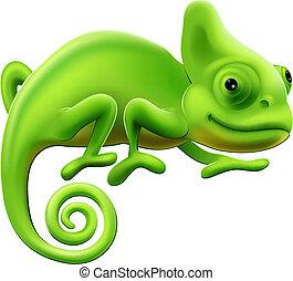 sprytny, kameleon, ilustracja