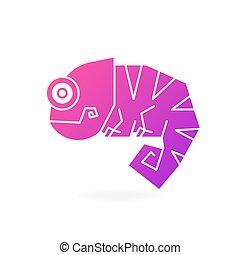 sprytny, kameleon, ilustracja, wektor, tło, logo, biały