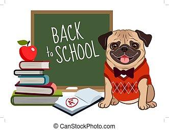 sprytny, kamizelka, krawat, argyle, wstecz, textbook, szczeniak, uśmiechanie się, apple., tablica, rysunek, przyjacielski, chodząc, mops, stóg, szkoła, illustration., książki, pies, łuk, marka, plus, język na zewnątrz