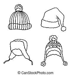 sprytny, kapelusze, wektor, komplet, zima