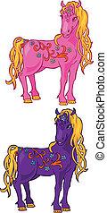 sprytny, koń, magia, ilustracja