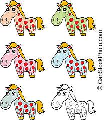sprytny, koń, rysunek