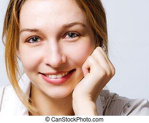 sprytny, kobieta, clea, uśmiech, świeży