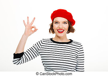 sprytny, kobieta, okay, pokaz, młody, gesture.