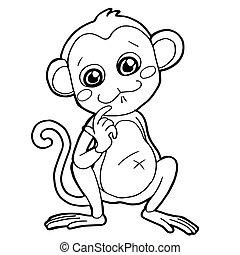 sprytny, kolorowanie, małpa, ilustracja, rysunek, wektor, strona
