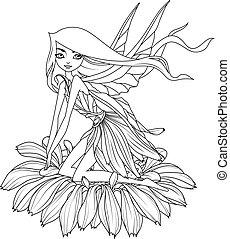 sprytny, kolorowanie, wróżka, posiedzenie, kudły, kwiat, book:, skrzydełka