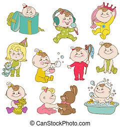 sprytny, komplet, doodle, -, wektor, projektować, niemowlę, album na wycinki, dziewczyna