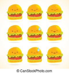 sprytny, komplet, hamburger, zabawny, wzruszenia, rysunek