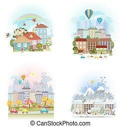 sprytny, komplet, miejski, morza, cztery, cityscape., bilety, śliczny, krajobraz