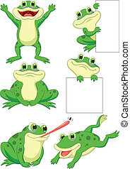 sprytny, komplet, rysunek, zbiór, żaba