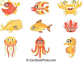 sprytny, komplet, stworzenia, morze, barwny, podwodny, wektor, litery, life., ilustracje, świat, marynarka, rysunek