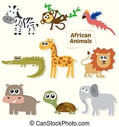 sprytny, komplet, zwierzęta, animals., dżungla, afrykanin, rysunek