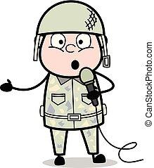 sprytny, koncert, armia, -, ilustracja, żołnierz, wektor, ...