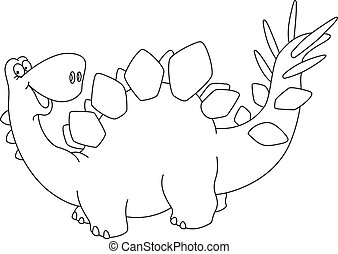 sprytny, konturowany, dinozaur