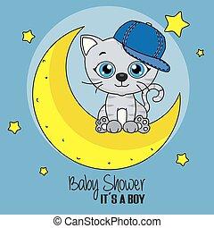 sprytny, kot, rysunek, księżyc