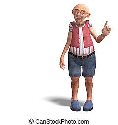 sprytny, krótki, starszy, człowiek, spodnie
