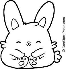 sprytny, kreskówka, królik, królik