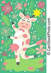 sprytny, krowa, złoty, zagroda, dzwon, litera, posiadanie, zabawny, zwierzę, zabawa, rysunek, szczęśliwy