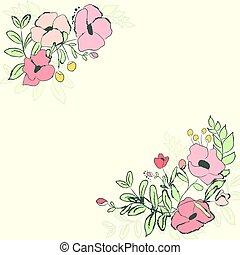 sprytny, kwiat, bouquet., ilustracja, wektor, karta